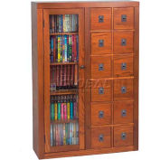 Solid Oak Combination Multimedia Storage Cabinet Dark Oak