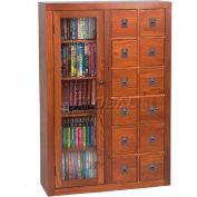 Solid Oak Combination Multimedia Storage Cabinet Dark Oak