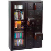 Solid Oak Combination Multimedia Storage Cabinet Espresso