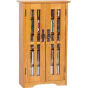 Wall Mounted Mission Style Glass Door Multimedia Storage Cabinet Oak, 190 CDs
