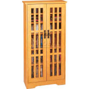 Mission Style Inlaid Glass Doors Multimedia Storage Cabinet Oak, 371 CDs