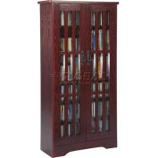 Mission Style Inlaid Glass Doors Multimedia Storage Cabinet Dark Cherry, 371 CDs