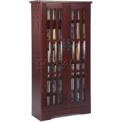 Mission Style Inlaid Glass Doors Multimedia Storage Cabinet Dark Cherry, 477 CDs