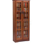 Mission Style Inlaid Glass Doors Multimedia Storage Cabinet Walnut, 477 CDs