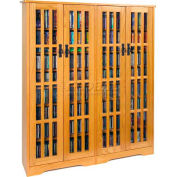 Mission Style Inlaid Glass Doors Multimedia Storage Cabinet Oak, 954 CDs