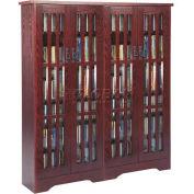 Mission Style Inlaid Glass Doors Multimedia Storage Cabinet Dark Cherry, 954 CDs