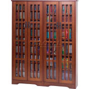 Mission Style Inlaid Glass Doors Multimedia Storage Cabinet Walnut, 954 CDs