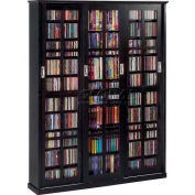 Mission Style Sliding Glass Door Multimedia Storage Cabinet Black, 1050 CDs