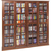 Mission style sliding glass door multimedia cabinet - Walnut