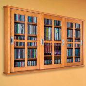 Wall Mounted Sliding Glass Door Multimedia Storage Cabinet Oak, 525 CDs