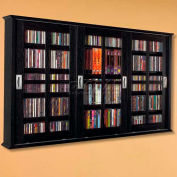 Wall Mounted Sliding Glass Door Multimedia Storage Cabinet Black, 525 CDs