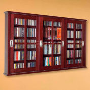 Wall Mounted Sliding Glass Door Multimedia Storage Cabinet Dark Cherry, 525 CDs