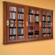 Wall Mounted Sliding Glass Door Multimedia Storage Cabinet Walnut, 525 CDs