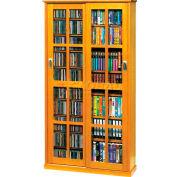 Mission Style Sliding Glass Door Multimedia Storage Cabinet Oak, 700 CDs