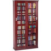 Mission Style Sliding Glass Door Multimedia Storage Cabinet Dark Cherry, 700 CDs