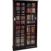 Mission Style Sliding Glass Door Multimedia Storage Cabinet Espresso, 700 CDs