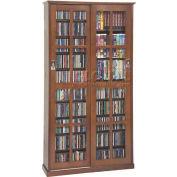 Mission Style Sliding Glass Door Multimedia Storage Cabinet Walnut, 700 CDs