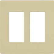 Lutron Claro® Wallplate, Gloss/Stainless Steel, 2 Gang, Ivory