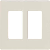 Lutron Claro® Wallplate, Gloss/Stainless Steel, 2 Gang, Light Almond