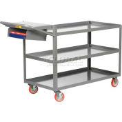 Little Giant® 3-Shelf Order Picking Truck with Storage Pocket 3LGL1832-WSP-BK, 32x18 1200 Lb.