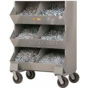 """Little Giant® Heavy Duty Steel Mobile Storage Bins MS2-1532, 6 Openings, 32""""L x 20""""W x 45-1/2""""H"""