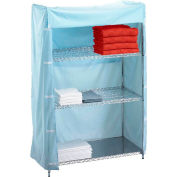 "R&B Wire Products 243672C Linen Cart Nylon Cover, 36""L x 24""W x 72""H, Light Blue"