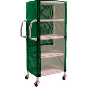 "Graham-Field 8524 PVC Linen Cart with Green Mesh Cover, Small 4-Shelf, 33""W x 20""D x 65-1/2""H"