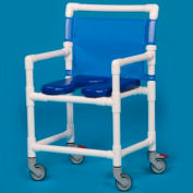 IPU® VLOF9200OS Oversize Open Front Soft Seat Shower Chair, 400 lbs. Capacity, Blue