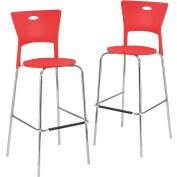 """Lumisource Mimi Bar Stool- 18""""L x 22""""W x 44-3/4""""H, Red 2 Pack"""