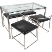 "Lumisource Fuji Dinette Set w/4 Chairs - 28""L x 47""W x 29-3/4""H, Brushed Steel, Clear Glass"