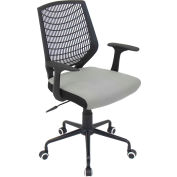 """Lumisource Network Office Chair- 22""""L x 25""""W x 36-3/5 - 39-1/2""""H, Black/Silver"""