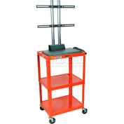 Luxor Adjustable Height Flat Panel Cart, Red