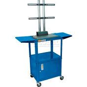 Luxor Adjustable Height Flat Panel Cart w/ Locking Cabinet & 2 Side Drop Leaf Shelves, Royal Blue