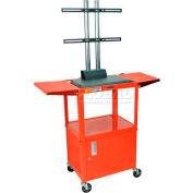 Luxor Adjustable Height Flat Panel Cart w/ Locking Cabinet & 2 Side Drop Leaf Shelves, Red