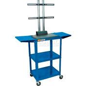 Luxor Adjustable Height Flat Panel Cart w/ 2 Side Drop Leaf Shelves, Royal Blue