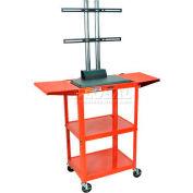 Luxor Adjustable Height Flat Panel Cart w/ 2 Side Drop Leaf Shelves, Red