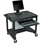 "Mobile Computer Desk - 32"" x 24"" x 32-3/4"" - Black"