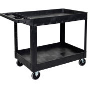 "Luxor®:XLC11-B-Two Shelf Heavy Duty Utility Cart with 5"" Rubber Caster-Black"