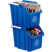 Orbis® Recycling Stack & Carry Bin 6 Gallon Npl 215 - Blue - Pkg Qty 6