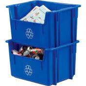 Orbis® Recycling Hopper Bin 12 Gallon Npl 252 - Blue - Pkg Qty 6