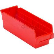 "LEWISBins Plastic Shelf Bin Nestable SB124-6 - 4-1/8""W x 11-5/8""D x 6""H, Red - Pkg Qty 16"