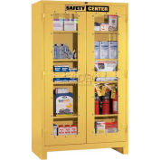 """Lyon Safety Supply Cabinet 741120SC - With Clear View Doors, 48""""W x 24""""D x 82""""H, Yellow"""