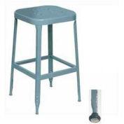 """Lyon® All-Welded Stool w/ Steel Seat-Black Rubber Feet W/ Steel Glide 30""""H Dove Gray, 2/Pk"""