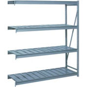 "Bulk Storage Rack Add-On, 4 Tier, Ribbed Decking, 84""W x 36""D x 96""H Blue"