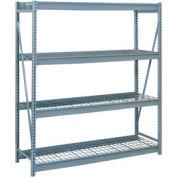 """Bulk Storage Rack Starter, 4 Tier, Wire Decking, 84""""W x 48""""D x 96""""H Blue"""
