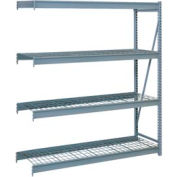 "Bulk Storage Rack Add-On, 4 Tier, Wire Decking, 84""W x 48""D x 96""H Blue"