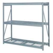 """Bulk Storage Rack Starter, 3 Tier, Wire Decking 72""""W x 24""""D x 84""""H Gray"""