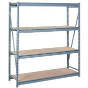 "Bulk Storage Rack Starter, 4 Tier, Particle Board, 72""W x 24""D x 96""H Gray"