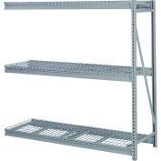"""Bulk Storage Rack Add-On, 3 Tier, Wire Decking, 84""""W x 24""""D x 72""""H Gray"""