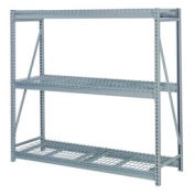 """Bulk Storage Rack Add-On, 3 Tier, Wire Decking, 84""""W x 30""""D x 84""""H Gray"""